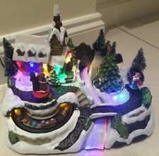 LED 30cm Festive Christmas Animated Village Carol Singers and Train Decoration