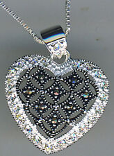 "925 Sterling Silver Marcasite & Cubic Zirconia Heart Pendant on 17"" Chain"