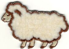Fluffy Beige Farm Country Lamb Sheep Facing Left Embroidery Patch