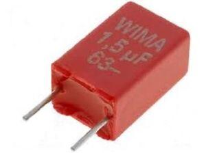 WIMA 1,5uF 63VDC ±10% MKS2 Condensatore in poliestere 4.5x9.5x7.2mm