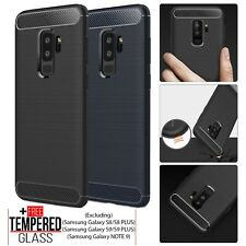For Samsung Galaxy S8 S9 A6 A7 A9 J6 Silicone Carbon Fiber Case Shockproof Cover