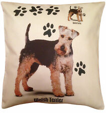More details for welsh terrier paws cotton cushion cover - cream or white cover - gift item