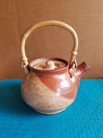 Glazed TEA POT Studio Art Pottery Kettle Brown Bamboo Wood Handle Stamped K