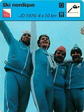 FICHE CARD: JO 1976:4x10 km Fondeur M. Pitkänen Nordic skiing SKI NORDIQUE 1970s