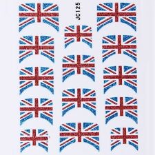 Nail Art Decal Stickers Glitter Nail Tips UK England British Flag JC125