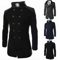 Men's Vintage Trench Coat Double Breasted Pea Coat Winter Jacket Overcoat Tops