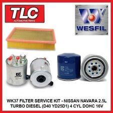 WK37 Air Oil Fuel Filter Kit Nissan Navara 2.5T/Diesel D40 YD25D1 Mfd in Spain