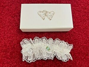 Wedding Garter Something Blue Rose Kitted Out English Gifts in Hearts Gift Box