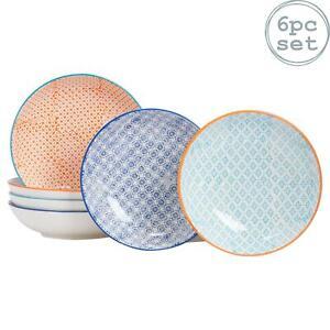 Large Pasta Bowls Dinner Set Patterned Porcelain Dining Bowl 3 Designs x6