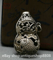 China Miao Silver Fengshui Fish Goldfish Auspicious Lucky Hollow Amulet Pendant