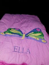 """Pottery Barn """"ELLA"""" Embroidered Butterfly Slepping Bag Nap Mat Girls Bedding"""