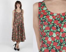 Vintage 80s Rose Floral Dress Boho Hippie Black Garden Party Day Midi Maxi M L
