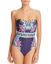 Trina Turk Blue Lotus Batik Bandeau One Piece Swimsuit 14 NWT New $160
