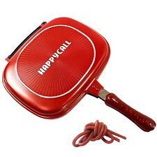 Happycall Double Sided Pan With 1p Silicone Gasket Pressure Jumbo Frying Pan Red