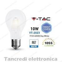 Lampadina led V-TAC 10W E27 bianco naturale 4000K VT-2023 A67 bianca filamento