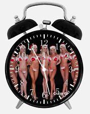 "Sexy Santa Girls Alarm Desk Clock 3.75"" Home or Office Decor W67 Nice For Gift"