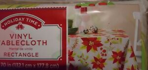 """HOLIDAY TIME FLANNEL BACK VINYL TABLECLOTH 52 X 70"""" BIG POINSETTIAS ON GRAY"""