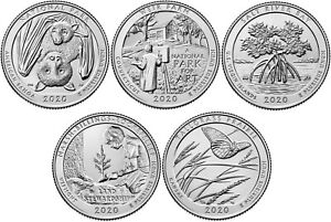 2020 US National Park Quarters Five Coins Uncirculated Straight from the US Mint