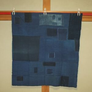 Japanese Antique Natural Indigo dye Cotton Patched Sashiko BORO BLUE Japan c034