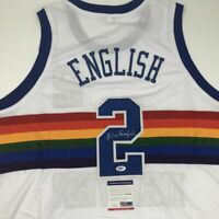 Autographed/Signed ALEX ENGLISH Denver White Basketball Jersey PSA/DNA COA Auto