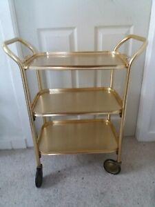 Vintage/Retro 3 Tier Hostess/Tea/Drinks Trolley Gold Tone Very Good Condition