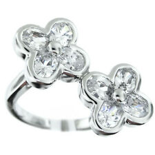 Ladies Double Flower CZ Silver Rhodium Plated Ring Size 8