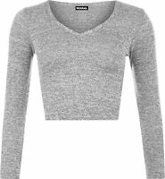 New Womens Stretch Long Sleeve V Neck Knitted Short T-Shirt Ladies Crop Top 8-14
