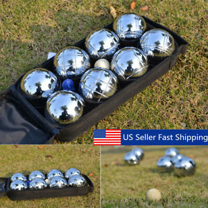 8 Ball Set Boule Bocce Petanque Balls Outdoor Sport Lawn Game with Carry Bag