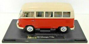 1:18 Scale 1963 Volkswagen T1 Bus  Red / Cream 14+ Diecast Welly Nex Models