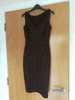 Ladies NEXT Dress Size 6 Black Brown Dogtooth Wiggle Pencil Office Work Smart