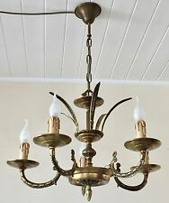 Beautiful Petite Vintage Brass 5 Branch Crown Chandelier, Ceiling Light, Rewired