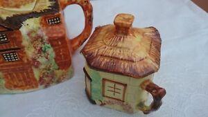 Arthur Wood Cottage Design Tea Pot, Milk & Sugar Dish – Circa 1950