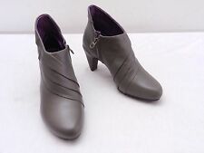 TSUBO Womens 5 Gray Brown Lapped Leather High Heel Ankle Boots Booties Shoes