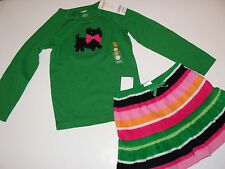 Gymboree Cheery All The Way Girls Size 4 Dog Puppy Top Stripe Skirt NEW NWT