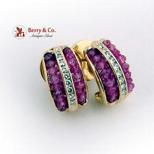 Half Hoop Diamond Earrings Faceted Natural Ruby Beads 18K Gold