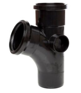 5 X Polypipe Soil 110mm 112.5 Equal Branch Double Socket Black ST403 junction