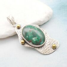 Kupfer Türkis grün gold oval Design Amulett Anhänger, 925 Sterling Silber neu