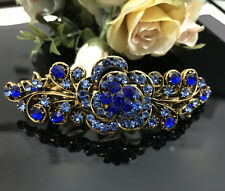 Antique Gold Tone Rhinestone Blue crystal metal Hair Clip Barrette 380117