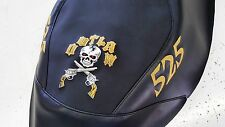 polaris outlaw 450 500 525 black GRIPPER seat cover gold logos gold letters b/g