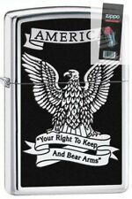 Zippo 28290 eagle right to bear arms hp chrome Lighter + FLINT PACK