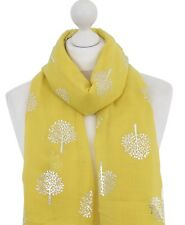 Yellow Mulberry Tree Scarf Silver Foil Tree of Life Summer Autumn Scarves Wrap