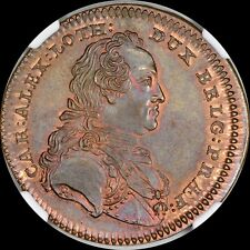 FINEST & ONLY @ PCGS & NGC MS 64 1758 RECHENPFENNIG BELGIUM CHARLES MEDAL TONED