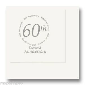 60th ANNIVERSARY BEVERAGE NAPKINS Party Supplies FREE SHIPPING