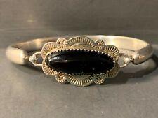Signed Black Onyx Bracelet Stamped Clip Vintage Navajo Sterling Silver J. Howe