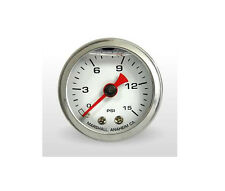 "Marshall Gauge 0-15 Psi Fuel Pressure Gauge White 1.5"" Diameter (Liquid Filled)"