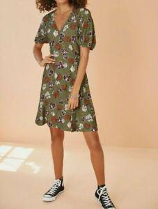 BNWT Next Khaki Floral Wrap Dress Size 14