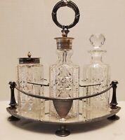 D&A Antique Crystal & Silver Plated Cruet Set