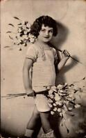 VINTAGE REAL PHOTO POSTCARD- LITTLE GIRL WITH FLOWER BRANCHES c.1908  BK25