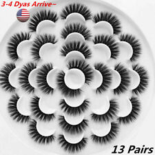 13 Pair 3D Natural Bushy Cross False Eyelashes Mink Hair Eye Lashes Black new