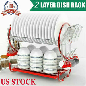 2-Tier-Dish Drying Rack Stainless Steel Drainer Kitchen Storage Saver Stand Hot!